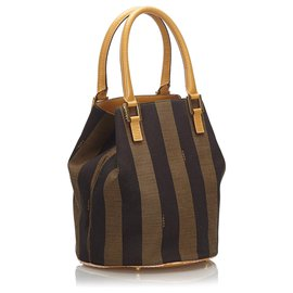 Fendi-Fendi Brown Pequin Canvas Handbag-Brown,Black