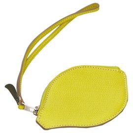 Hermès-Hermes Yellow Chevre Mysore Citron Pochette-Yellow