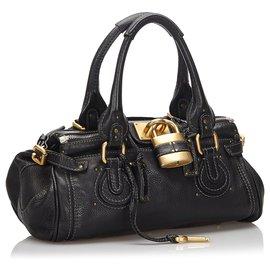 Chloé-Chloe Black Leather Paddington Handbag-Black
