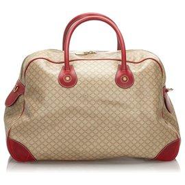 Céline-Celine Brown Macadam Travel Bag-Brown,Red,Beige
