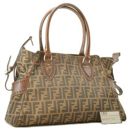 Fendi-Fendi Zucca Nylon Leather Tote Bag-Brown