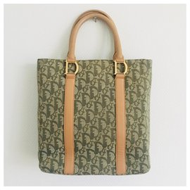 Christian Dior-Dior Trotter Tote-Beige,Green