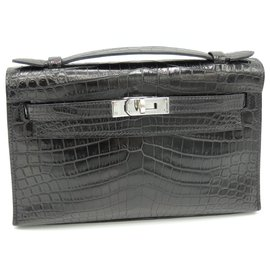 Hermès-HERMES KELLY POCKET IN MATT CROCODILE-Black