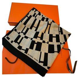 Hermès-OP'H Shawl-Black,Beige