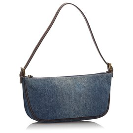 Fendi-Fendi Blue Denim Baguette-Brown,Blue,Other,Dark brown