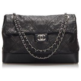 Chanel-Chanel Black Surpique Maxi Lambskin Flap Bag-Black
