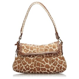 Fendi-Fendi Brown Leopard Print Canvas Chef Baguette-Brown,Beige