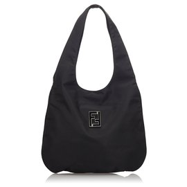 Fendi-Fendi Black Nylon Hobo Bag-Black