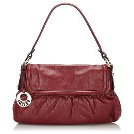 Fendi-Fendi Red Leather Chef Handbag-Red,Dark red