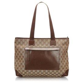 Gucci-Sac cabas en toile Gucci Brown GG-Marron,Beige,Marron foncé