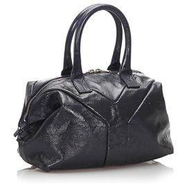 Yves Saint Laurent-Sac à main Easy en cuir verni noir YSL-Noir