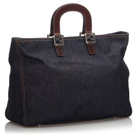 Fendi-Fendi Blue Denim Tote Bag-Brown,Blue,Dark brown,Dark blue