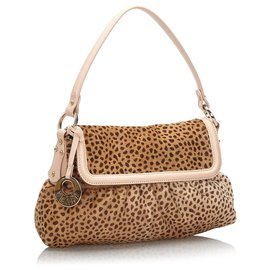 Fendi-Fendi Brown Cheetah Print Pony Hair Chef Baguette-Brown,Light brown,Dark brown