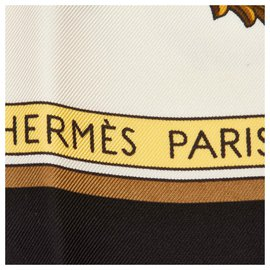 Hermès-Hermes White Printed Silk Scarf-Black,White