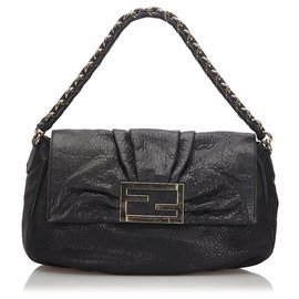 Fendi-Fendi Black Leather Mia Baguette-Black,Golden