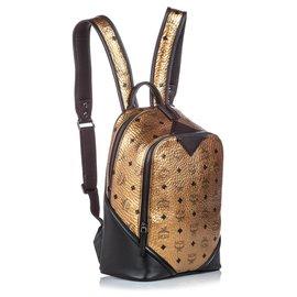 MCM-MCM Brown Metallic Visetos Duke Backpack-Brown,Black,Bronze