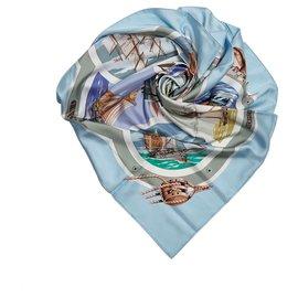Hermès-Hermes Blue Printed Silk Scarf-Blue,Multiple colors,Light blue
