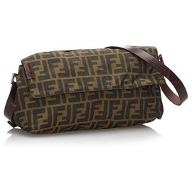 Fendi-Fendi Brown Zucca Canvas Baguette-Brown
