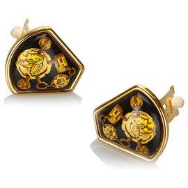 Hermès-Hermes Clip en émail doré sur boucles d'oreilles-Noir,Doré