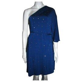 Halston Heritage-Studded one shouldered dress-Blue