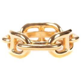 "Hermès-Hermès scarf ring ""Regatta anchor chain"" in gold plated metal-Golden"