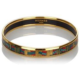 Hermès-Bracelet jonc en émail doré Hermes-Noir,Doré