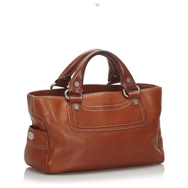Céline-Celine Brown Leather Boogie-Brown,Dark brown