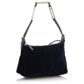 Fendi-Fendi Blue Velour Baguette-Blue,Dark blue