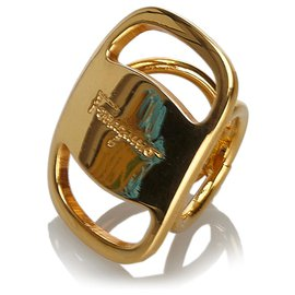 Salvatore Ferragamo-Ferragamo Gold Vara Scarf Ring-Golden