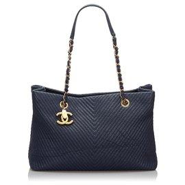 Chanel-Chanel Blue Chevron Leather Tote Bag-Blue,Dark blue