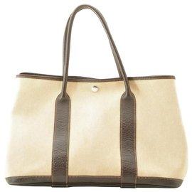 Hermès-Hermès Garden Party PM Tote Bag-White