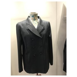 Chanel-lined breasted blazer-Black