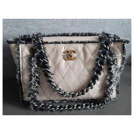 Chanel-Sac cabas Chanel en cuir matelassé beige / tweed-Noir,Beige