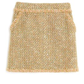 Chanel-BEIGE KHAKI TWEED FR38/40-Beige,Khaki