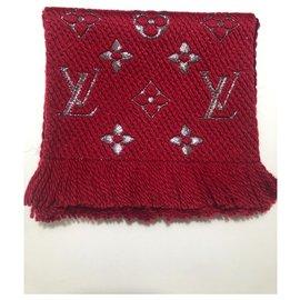 Louis Vuitton-Louis Vuitton red logomania scarf shine-Red