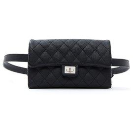 Chanel-2:55 CLUTCH ON BELT NEW-Black