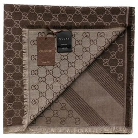Gucci-gucci  brown scarf new-Brown