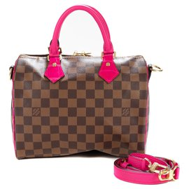 Louis Vuitton-Création Sac Louis Vuitton Speedy 25 bandoulière à damier ébène customisé avec du cuir de taurillon et crocodile Porosus rose-Marron,Rose