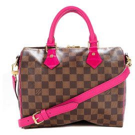 Louis Vuitton-Louis Vuitton Speedy Bag Creation 25 shoulder strap with ebony checkerboard customized with calf leather and pink Porosus crocodile-Brown,Pink