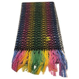 Chanel-CHANEL MULTICOLORED SCARF, SILK MIX - COTTON-POLYAMIDE . New with tag-Multiple colors