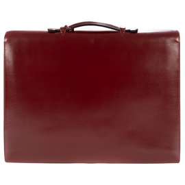Hermès-Hermès Briefcase Burgundy box leather dispatch bag in very good condition!-Dark red