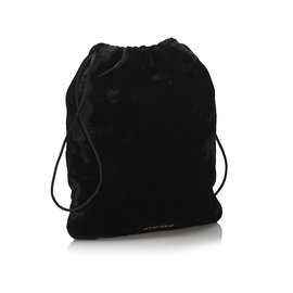 Miu Miu-Miu Miu Black Velour Drawstring Pouch-Black