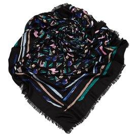 Louis Vuitton-Écharpe Splash Noire Louis Vuitton-Noir,Multicolore
