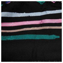 Louis Vuitton-Louis Vuitton Black Splash Scarf-Black,Multiple colors