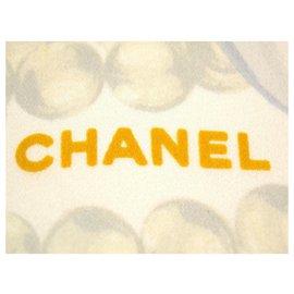 Chanel-Chanel Chanel 100% Foulard en soie Châle Wrap Cape Bijoux-Blanc