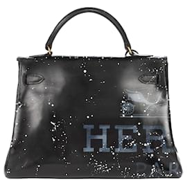 "Hermès-Hermes Kelly bag 32 returned in black box leather customized ""Audrey Hepburn"" # 47 by PatBo-Black"