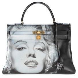 """Hermès-Sac Hermès Kelly 35 retourné en cuir box noir customisé """"Marilyn Monroe"""" # 46 par PatBo-Noir"""
