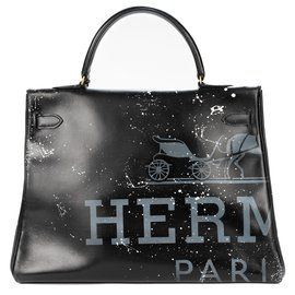 "Hermès-Hermes Kelly bag 35 returned in black box leather customized ""Marilyn Monroe"" # 46 by PatBo-Black"