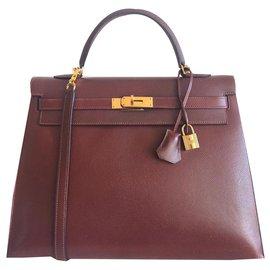 Hermès-Hermes Kelly bag 35 Bordeaux-Dark red