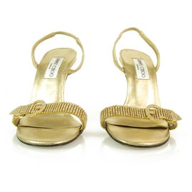 Jimmy Choo-Authentic Jimmy Choo Gold Leather Sandal with Hotfix Crystals and Buckle Sandals - Sz37.5-Golden